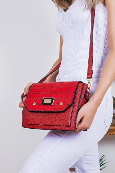 Limoya Bags Kadın Kırmızı Kroko Desenli El ve Omuz Çantası