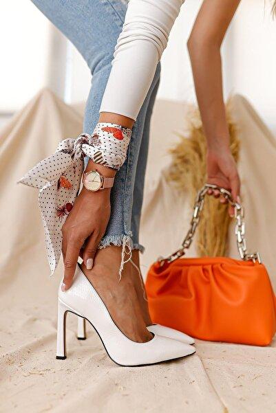 Limoya Kadın Beyaz Kırışık Rugan İnce Topuklu Stiletto