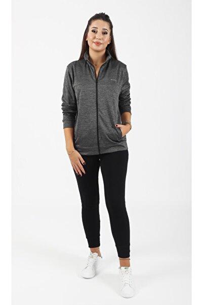 LETOON Kadın Gri Melanj Fermuarlı Sporcu Sweatshirt