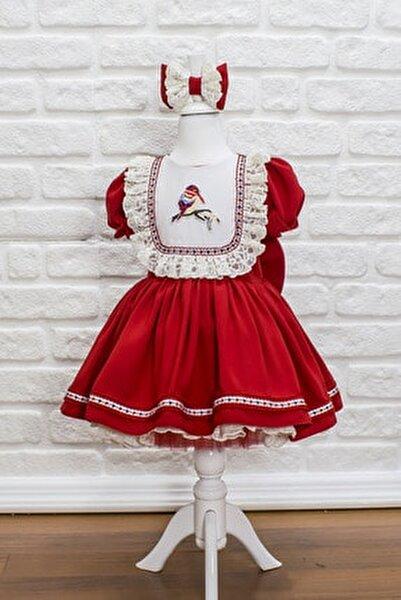 Çocuk Kuş Nakışlı Dantel Detaylı Kırmızı Elbise