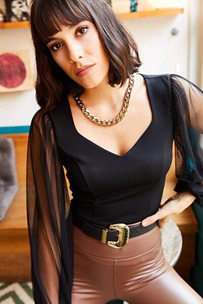 Olalook Kadın Siyah Kolu Tül V Yaka Örme Bluz BLZ-19001192