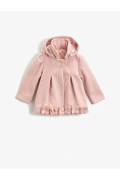 Koton Kız Çocuk Pembe Kapüşonlu Düğmeli Çiçekli Gabardin Kumaş Kaban