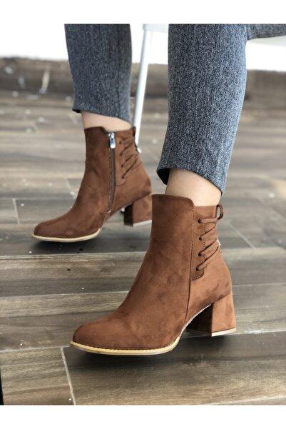 Pine Shoes Kadın Taba Bağcık Detay Süet Bot