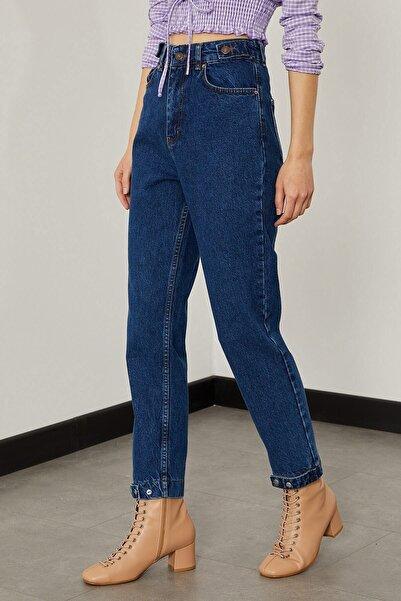 Arma Life Kadın Orta Mavi Paçası Çıtçıtlı Mom Pantolon