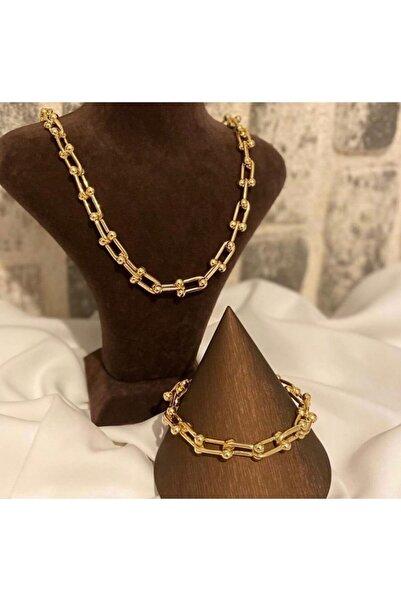 rich lion Kadın Altın Kaplama İkili Çelik Set Kolye & Bileklik