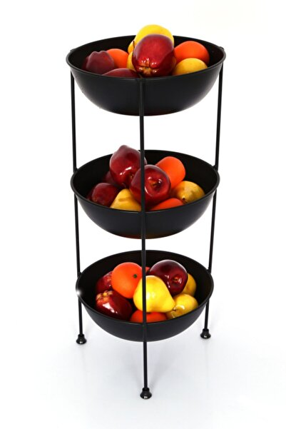 kitchen trend 3 Katlı Metal Meyvelik Ve Sebzelik Siyah