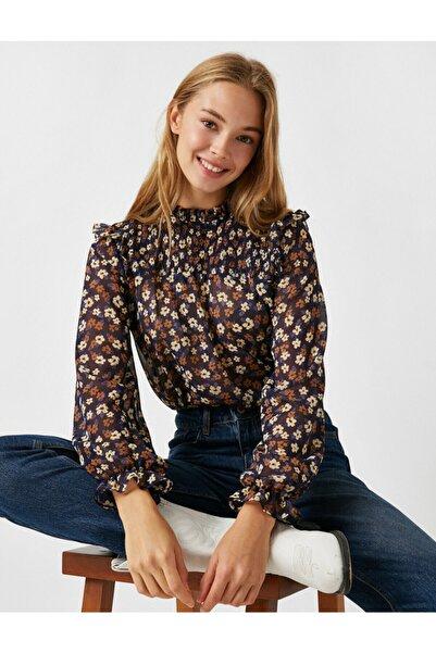 Koton Kadın Lacivert Balikçi Yaka Uzun Kollu Çiçekli Bluz