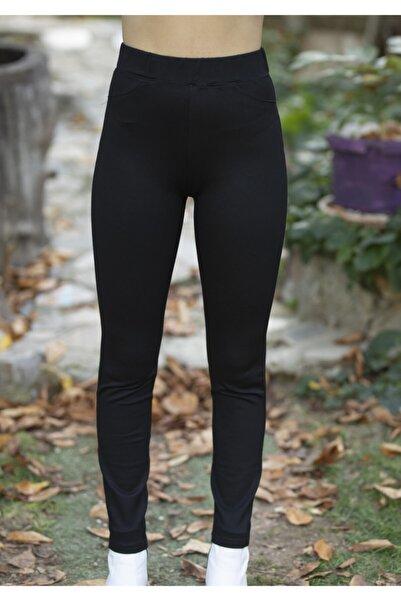 Anka Women Kadın Çelik Örme Arkası Cepli Toparlayıcı Pantolon Tayt Siyah