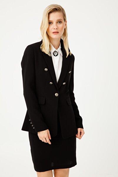 Ekol Kadın Siyah Kapak Cepli Ceket