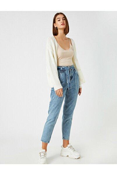 Koton Pamuklu Kemerli Yüksek Bel Jean