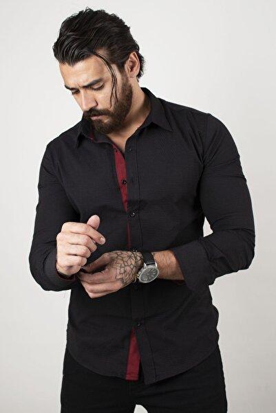 DeepSEA Erkek Siyah Dar Kesim Uzun Kol Gömlek 2101001