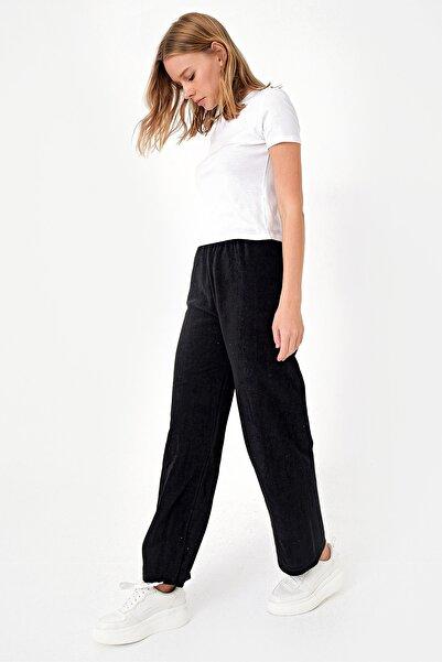 Trend Alaçatı Stili Kadın Siyah Polar Eşofman Altı ALC-X5074