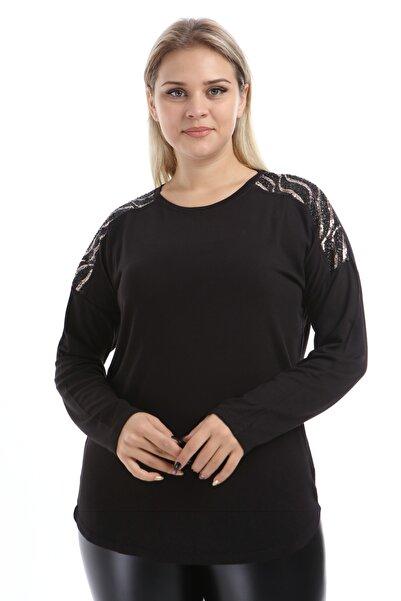 Big Free Kadın Siyah Bluz Kollar Pul Payet İşlemeli Tb21Kb452250