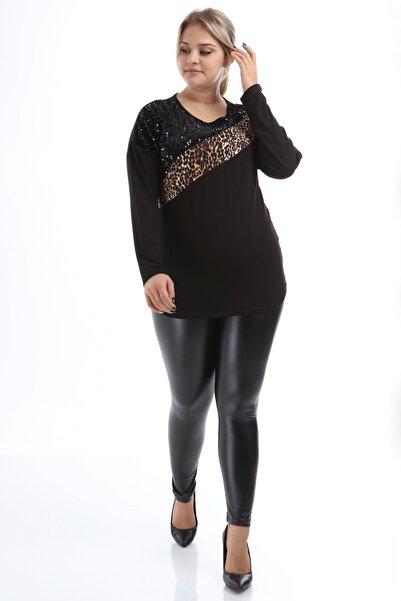 Big Free Kadın Siyah Bluz Leopar Pul Payet Desenli Tb21Kb452352
