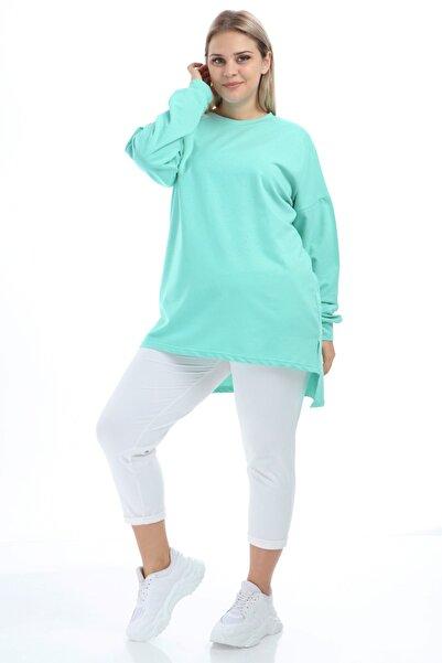 Big Free Kadın Mint Yeşili Tunik Sweat Bis Yaka Bcs Tb21Kb258580