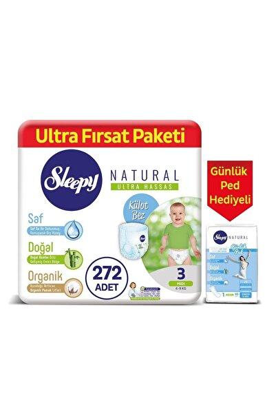 Sleepy Natural Külot Bez 3 Numara Midi 272 Adet + Natural Günlük Ped Normal 40 Adet