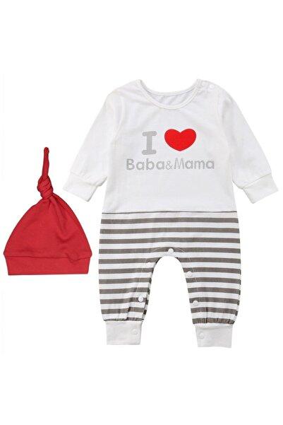 bebegen I Love Baba&mama Baskılı Kırmızı Bereli Gri Çizgili Tulum