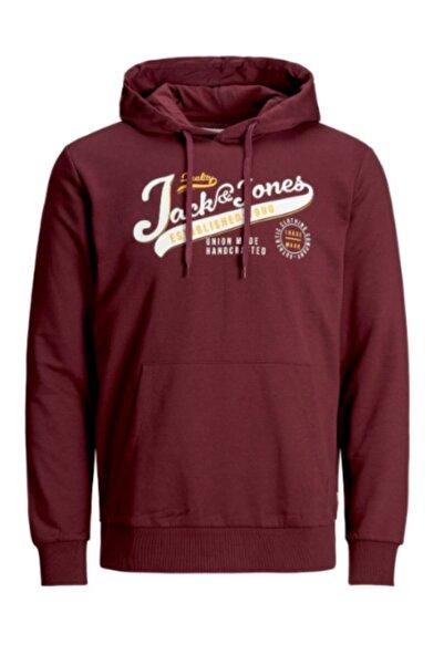 Jack & Jones Erkek Kırmızı Kapüşonlu Swaetshırt - 12172349