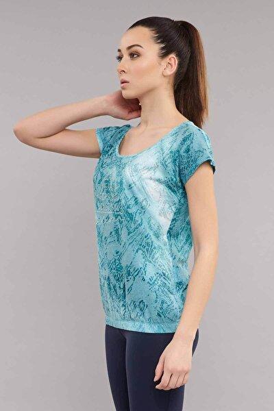 bilcee Mavi Likralı Pamuklu KadınT-Shirt ES-3571