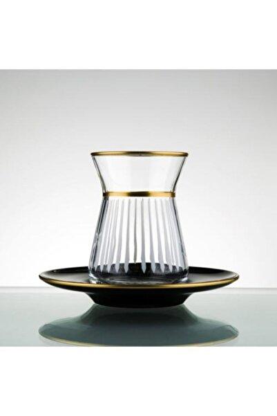 Paşabahçe El Yapımı Kesme Gold Çay Seti 12 Parça 6 Kişilik