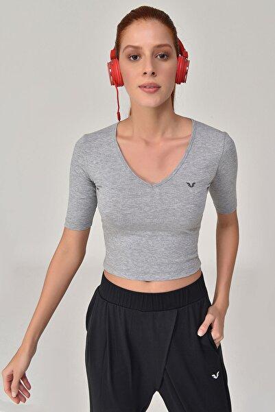 bilcee Gri Kadın Yoga T-Shırt GS-8105