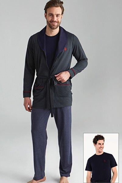U.S. Polo Assn. Erkek Lacivert 1 Kısa Kollu Pijama + 1 Sabahlık