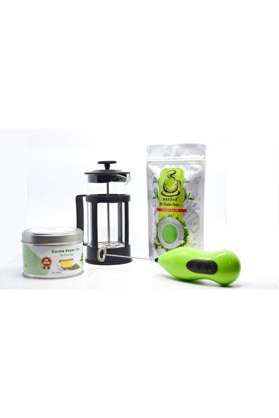 Karadeniz Matcha Gurme Beyaz Çay + Çayı +cam Frech Press + Elektronik Mikser + 2 Adet Pil