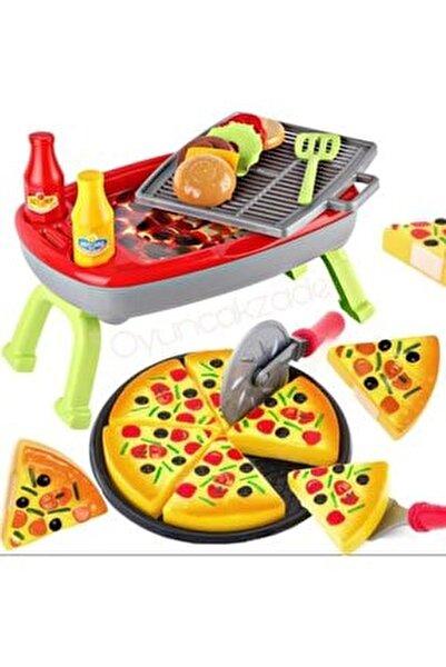 Oyuncak Mangal Seti + Pizza Oyun Seti Kız Ve Erkek Çocuk Oyuncakları