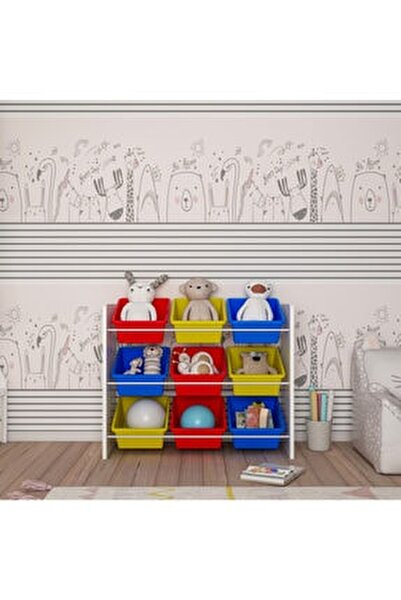 Renkli Montessori Oyuncak Dolabı 9 Sepetli
