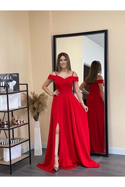 giyimmasalı Crep Kumaş Askılı Prenses Elbise - Kırmızı