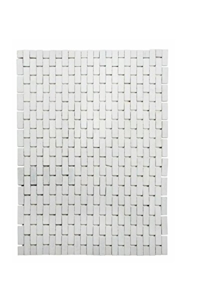 Lorin Bambu Paspas Çok Amaçlı Kaymaz Tabanlı Beyaz