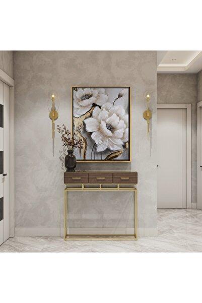 Dekoratif Market Modern Çiçekli Altın Simli Altın Çerçeveli Tablo Salon Oturma Odası Koridor Tablosu