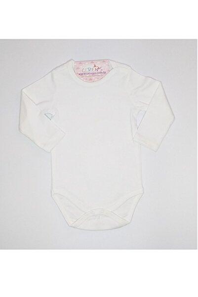 Fuar Baby Düz Beyaz %100 Pamuk Uzun Kol Çıtçıtlı Body