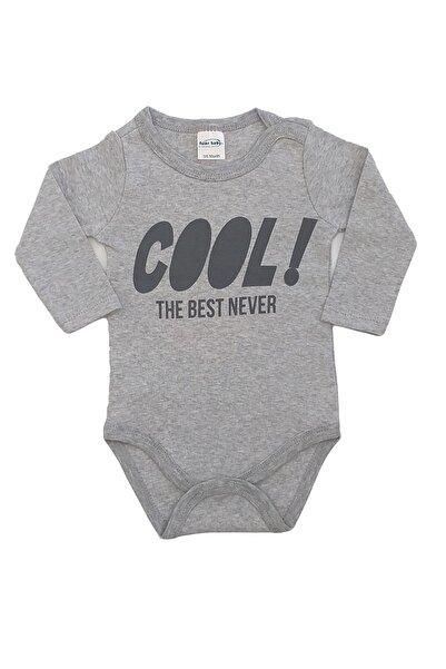 Fuar Baby Cool Baskılı %100 Pamuk Erkek Bebek Gri Uzun Kol Body