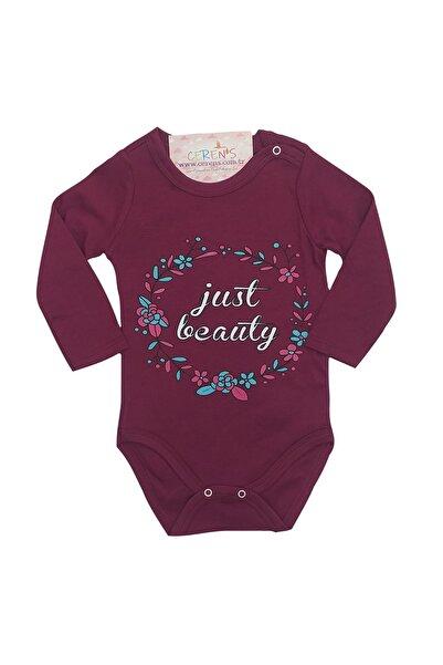 Fuar Baby Just Beauty Çiçek Baskılı Mor %100 Pamuk Kız Bebek Body