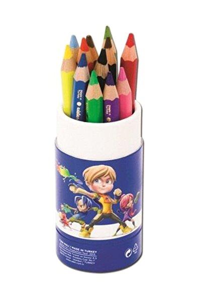 Adel Jumbo Karton Tüp Boya Kalemi 12 Renk Yarım Boy (5,4mm)
