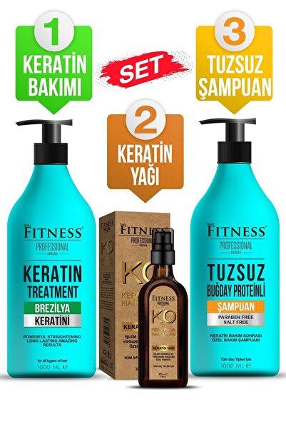 Fitness Professional Saç Düzleştirici Keratin Bakımı + Tuzsuz Şampuan + Keratin Yağı