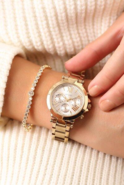 Homies Gold Renk Kadın Kol Saati (bileklik Hediyeli)