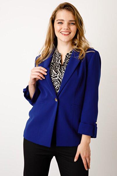 Ekol Kadın Saks Mavisi Tek Düğme Ceket