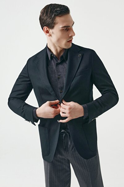 Damat Regular Fit Siyah Armürlü Kumaş Ceket