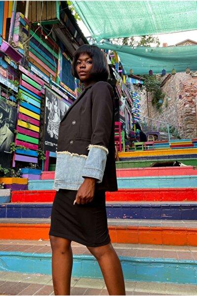 VorNişantaşı Kadın Jean Yamalı Blazer Ceket