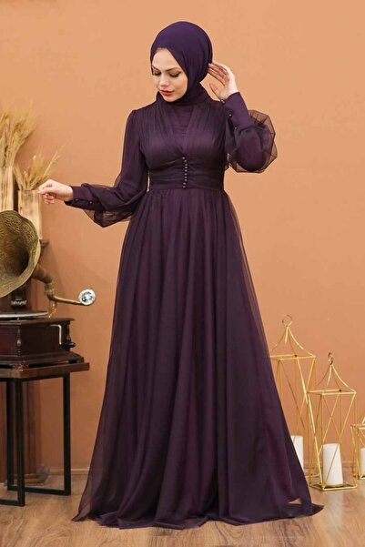Neva Style Tesettürlü Abiye Elbise - Düğme Detaylı Mürdüm Tesettür Abiye Elbise 5478mu