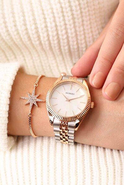 Homies Rose Gümüş Kadın Kol Saati ve Bileklik