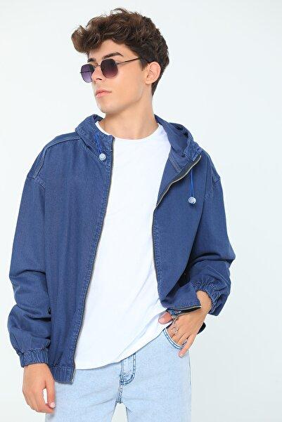julude Kapüşonlu Oversize Erkek Jean Ceket