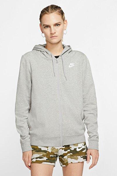 Nike W Nsw Club Flc Hoodıe Fz Gri Kadın Sweatshirt