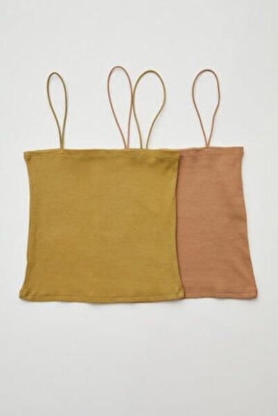 2 ' Li Set Ip Askılı Crop Straplez Bluz