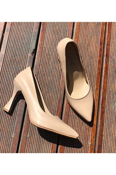 Afilli Kadın Ten Kadeh Ince Yüksek Kadeh Topuk Stiletto Kapalı Stiletto Kalın 8-9 Cm Sivri Burun