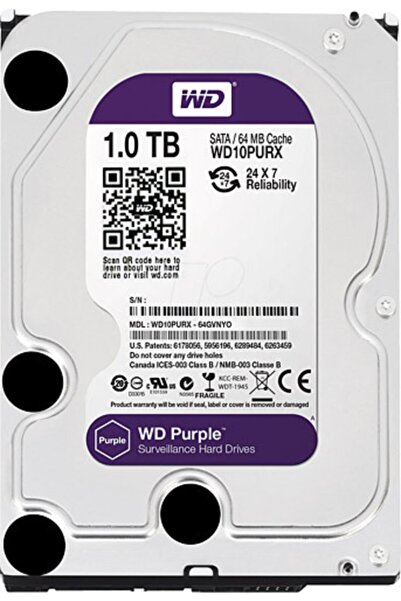 "WESTERN DIGITAL Wd Purple 1 Tb 3.5"" 7200 Rpm Sata 3 Wd10purz Güvenlik Harddisk Hdd 7/24 Pc"