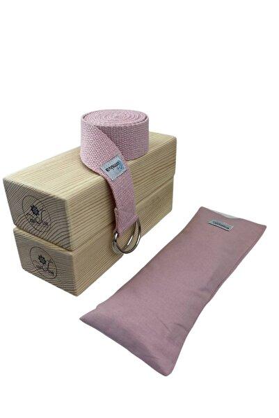 OmSiva Yoga Set 3  PUDRA Blok X 2 + Çift Katlı Yıkanabilir Lavantalı Yoga Göz Yastığı +Yoga Kemeri