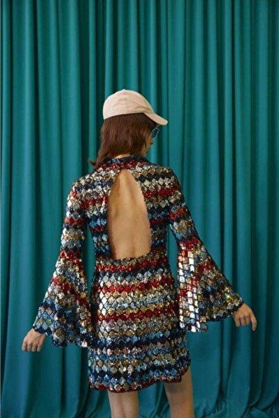 Ribellion Payetli Sırt Dekolteli Kısa Elbise